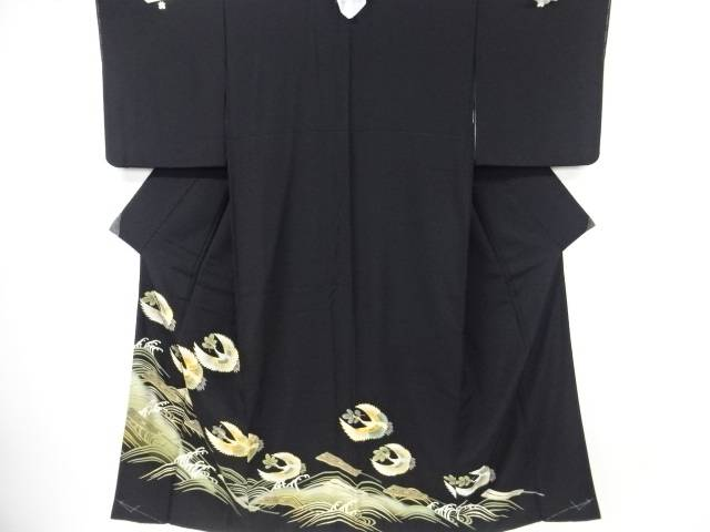 【IDnet】 未使用品 箔置扇に松喰い鶴模様刺繍留袖(比翼付き)【リサイクル】【着】
