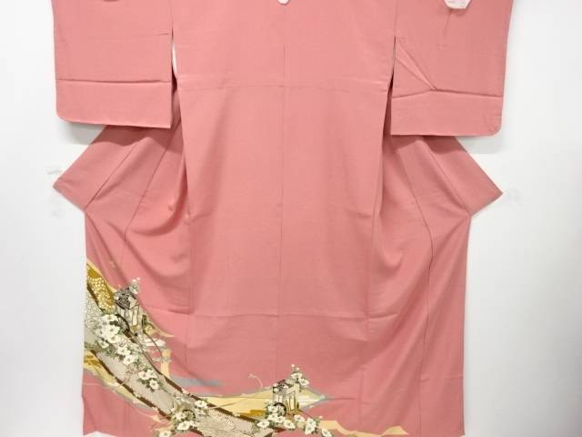 【IDnet】 未使用品 金彩御簾に御所車・椿模様五つ紋色留袖【リサイクル】【着】