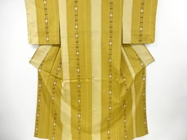 【IDnet】 未使用品 縞に抽象花模様織り出し経節紬着物【リサイクル】【着】