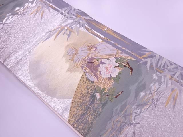 【IDnet】 河瀬満織物製 竹笹に寒牡丹模様織出し袋帯【リサイクル】【中古】【着】