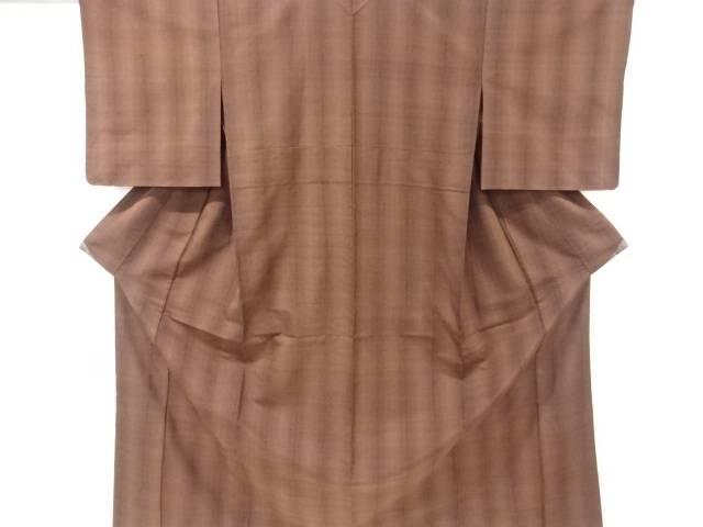 【IDnet】 未使用品 仕立て上がり 縞模様織り出し手織り真綿紬単衣着物【着】