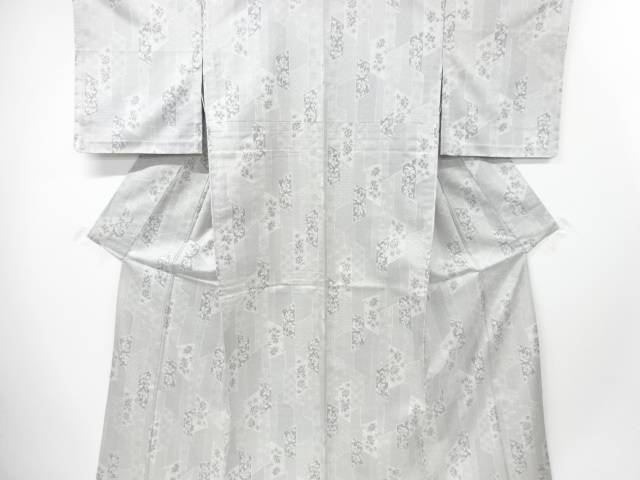 【IDnet】 未使用品 仕立て上がり 古典柄に花更紗模様織り出し西陣お召単衣着物【着】