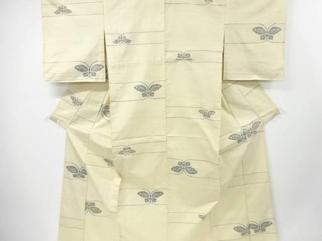 【IDnet】 未使用品 蝶模様織り出し手織り真綿紬単衣着物【リサイクル】【着】