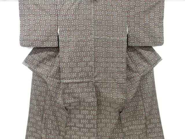 【IDnet】 幾何学模様織り出し本場泥大島紬着物アンサンブル・引っぱりセット(龍郷)【大正ロマン】【中古】【着】