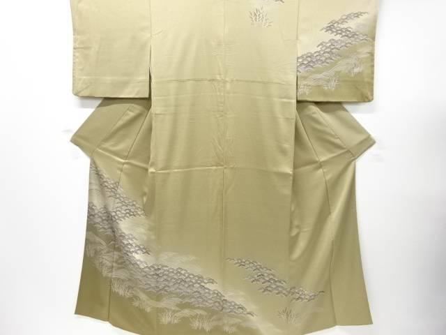【IDnet】 手描き友禅松原に荒波模様訪問着【リサイクル】【中古】【着】