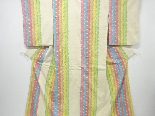 【IDnet】 抽象模様織り出し手織り真綿小千谷紬着物【リサイクル】【中古】【着】