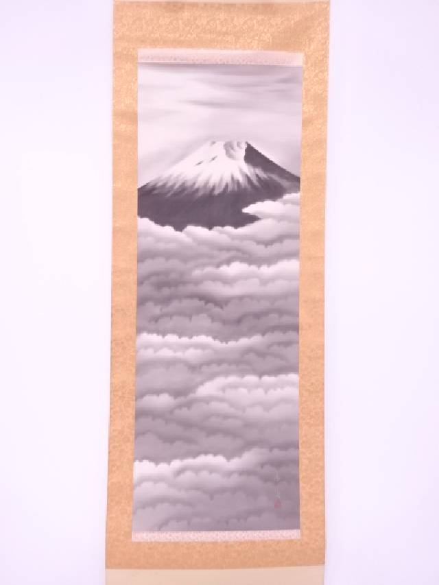 【IDnet】 日本画 秀雲筆 富峰 肉筆絹本掛軸(共箱)【中古】【道】
