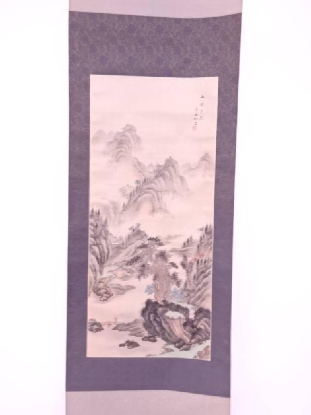 【IDnet】 中国画 作家物 山水之図 肉筆絹本掛軸【中古】【道】