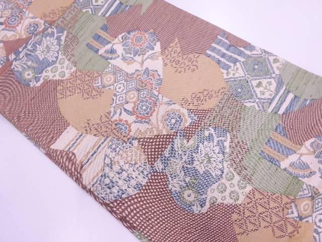 【IDnet】 手織り紬草花に抽象模様名古屋帯【リサイクル】【中古】【着】
