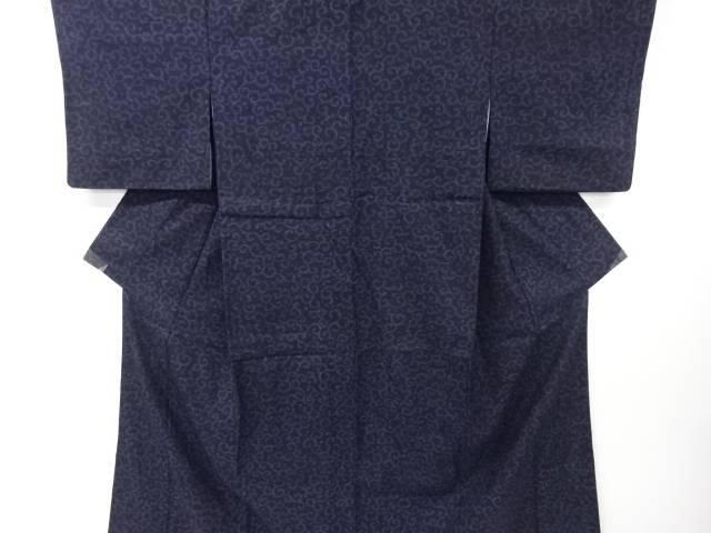 【IDnet】 重要無形文化財本場結城紬100亀甲唐草模様織り出し着物(松坂屋)【リサイクル】【中古】【着】