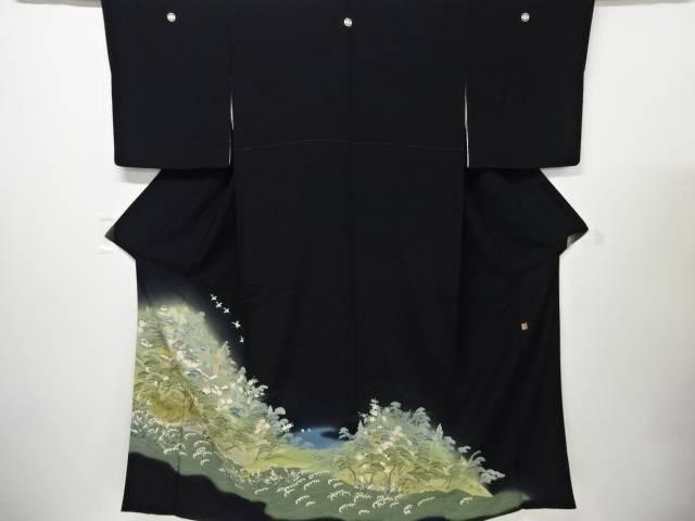 【IDnet】 作家物 手描き友禅町屋に海岸風景模様留袖(比翼付き)【リサイクル】【中古】【着】