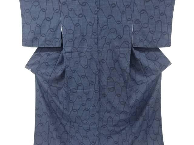 【IDnet】 重要無形文化財本場結城紬100亀甲網目模様織り出し着物【リサイクル】【中古】【着】