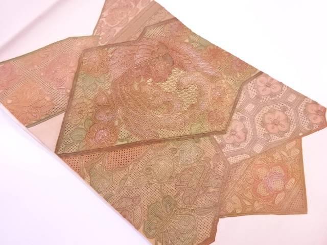 【IDnet】 金彩汕頭相良刺繍花鳥に宝づくし模様袋帯【リサイクル】【中古】【着】