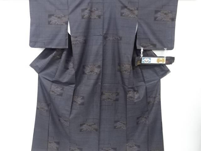 【IDnet】 横段に松模様織り出し本場泥大島紬着物(5マルキ)【リサイクル】【中古】【着】