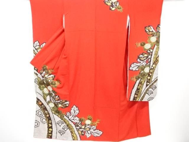 【IDnet】 絞り宝尽くしに菊模様刺繍振袖(重ね衿付き) 長襦袢・袋帯セット【リサイクル】【中古】【着】
