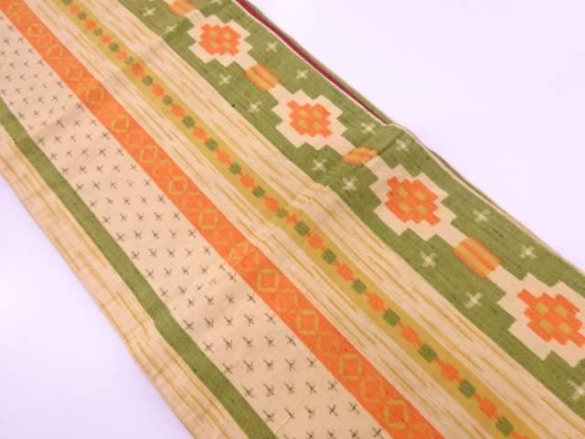 【IDnet】 手織り紬縞に抽象模様織出し全通袋帯【リサイクル】【中古】【着】