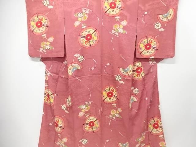 【IDnet】 紋錦紗三つ扇に花模様一つ紋着物【大正ロマン】【中古】【着】