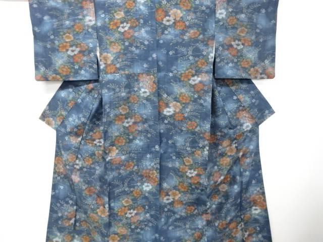 【IDnet】 草花模様織り出し手織り真綿紬着物【リサイクル】【中古】【着】