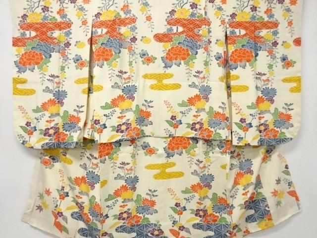 【IDnet】 未使用品 型染ヱ霞に枝垂れ桜・牡丹模様子供着物【リサイクル】【着】