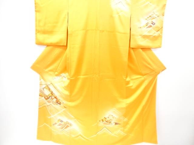 【IDnet】 抽象波に菊・橘・梅模様刺繍訪問着【リサイクル】【中古】【着】