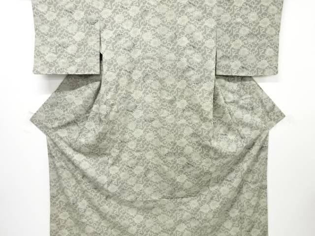 【IDnet】 松煙染 菊唐草模様手織り真綿紬着物【リサイクル】【中古】【着】