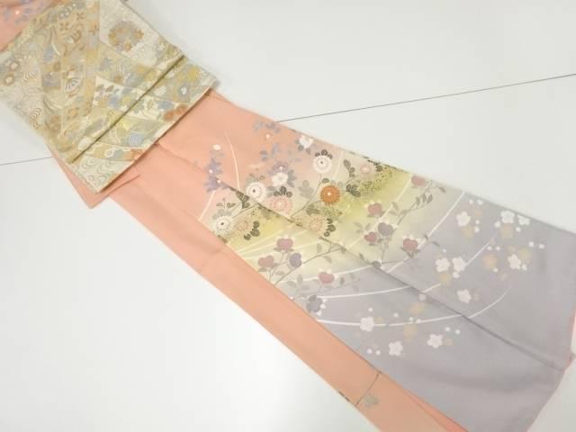 【IDnet】 金彩手描き友禅椿・菊・橘・梅模様訪問着・明綴れ袋帯セット【リサイクル】【中古】【着】
