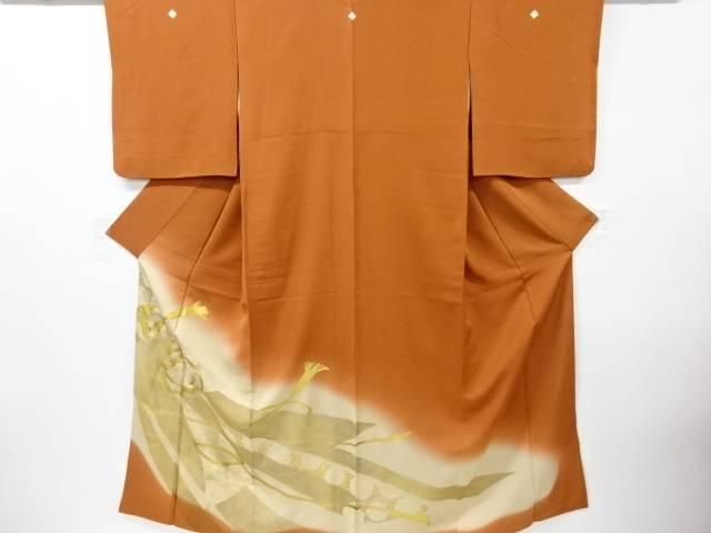 【IDnet】 金彩熨斗に組紐模様三つ紋色留袖【リサイクル】【中古】【着】