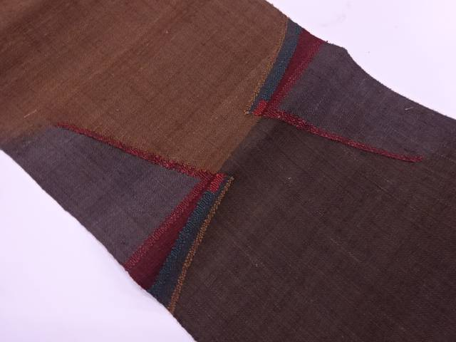 【IDnet】 手織り真綿紬抽象模様織出し名古屋帯【リサイクル】【中古】【着】