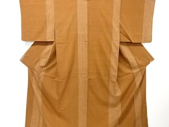 【IDnet】 縞に十字絣織出手織り真綿紬着物【リサイクル】【中古】【着】