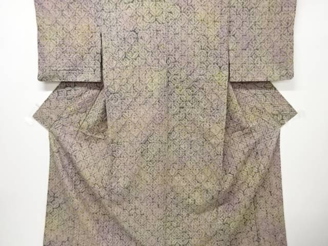 【IDnet】 本絞り七宝模様手織り真綿紬単衣着物【リサイクル】【中古】【着】