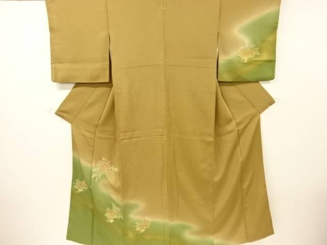 【IDnet】 地紙に尾長鳥・花模様刺繍一つ紋訪問着【リサイクル】【中古】【着】