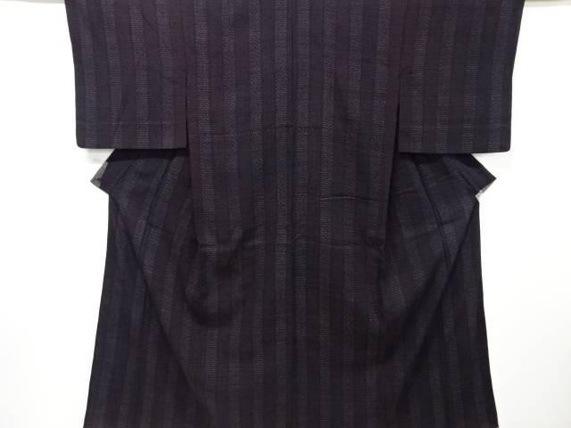 【IDnet】 縞織り出し本場結城紬単衣着物(ちぢみ)【大正ロマン】【中古】【着】