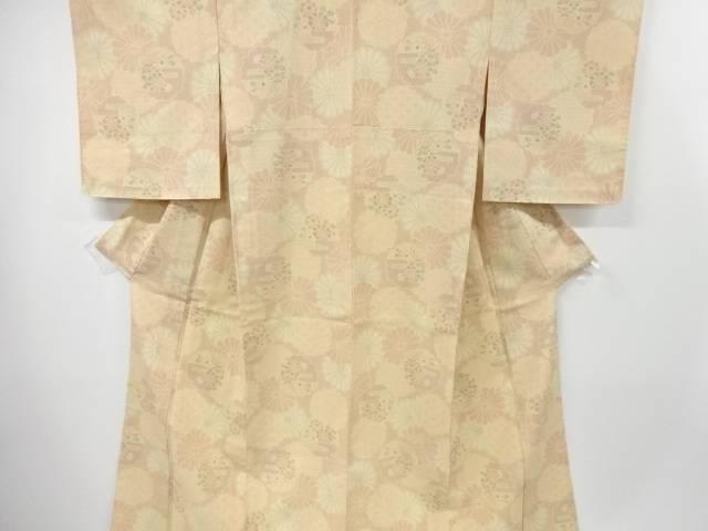 【IDnet】 菊に古典柄織り出し本塩沢単衣着物【リサイクル】【中古】【着】
