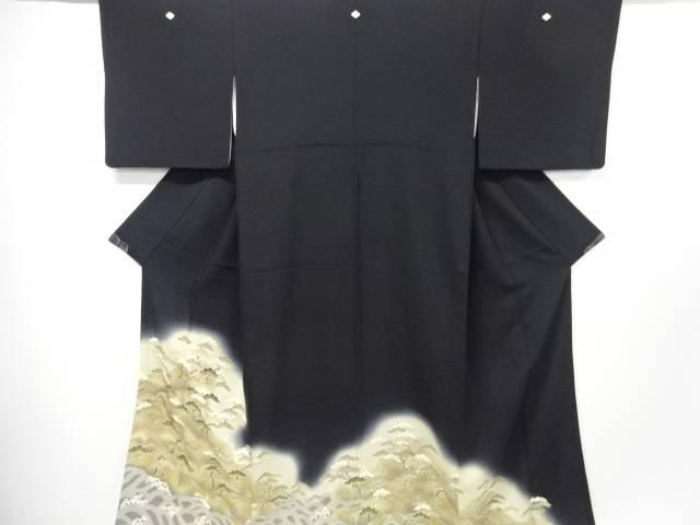 【IDnet】 荒波に松模様刺繍留袖(比翼付き)【リサイクル】【中古】【着】