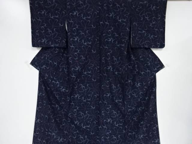 【IDnet】 未使用品 花模様織り出し手織り真綿紬着物【リサイクル】【着】