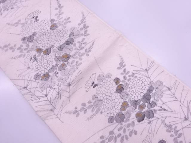 【IDnet】 作家物 ひげ紬金彩手描き秋草模様袋帯【リサイクル】【中古】【着】