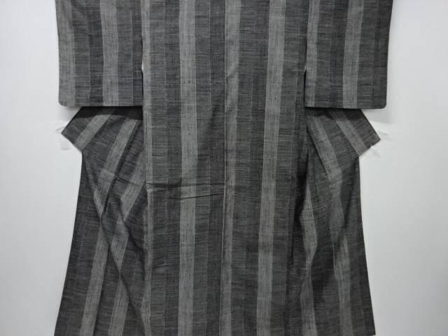 【IDnet】 縞に横段模様織り出し手織り節紬着物【リサイクル】【中古】【着】