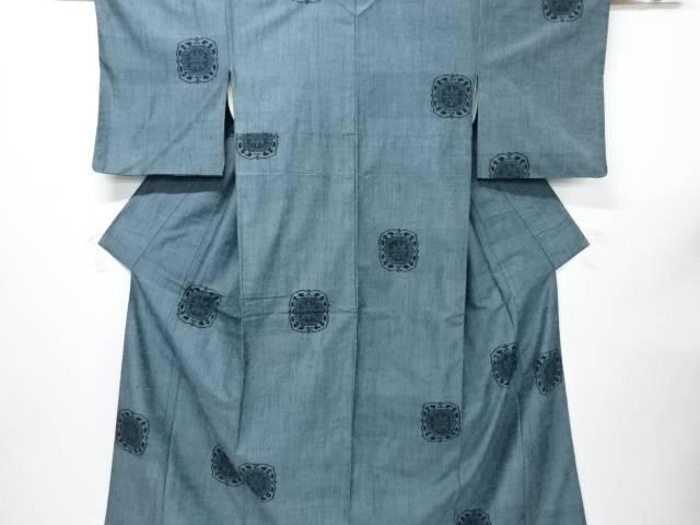 【IDnet】 華紋織り出し本真綿結城紬80亀甲着物【リサイクル】【中古】【着】