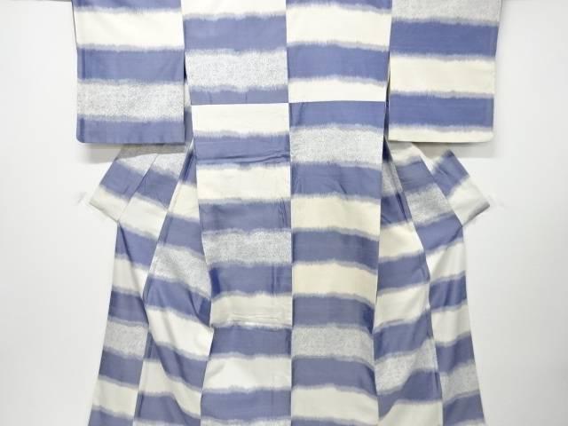 【IDnet】 横段に花唐草模様織出し手織り節紬着物【リサイクル】【中古】【着】