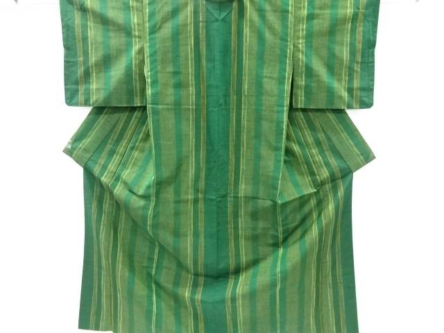 【IDnet】 縞織出手織り真綿紬着物【リサイクル】【中古】【着】