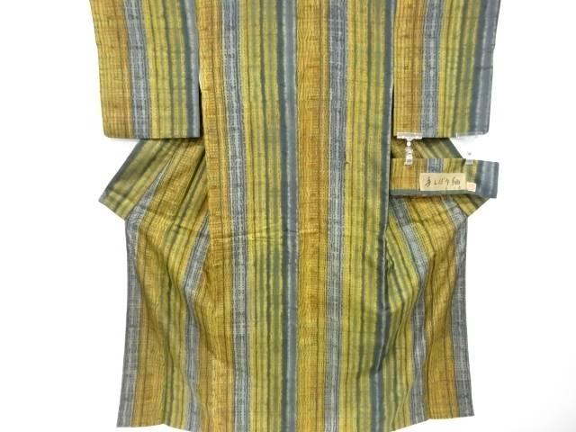 【IDnet】 手絞り縞模様手織り紬着物【リサイクル】【中古】【着】