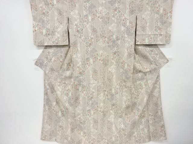 【IDnet】 幾何学に草花模様織出手織り真綿紬着物【リサイクル】【中古】【着】