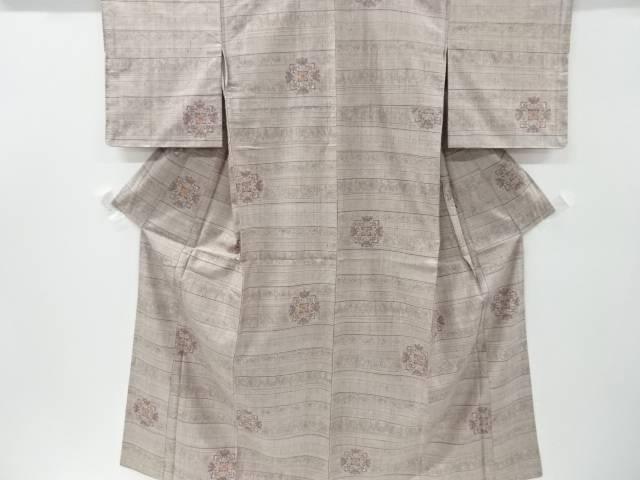 【IDnet】 横段に華紋更紗模様織り出し手織り紬着物【リサイクル】【中古】【着】