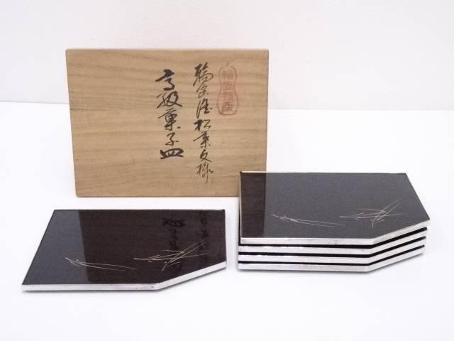 【IDnet】 輪島塗松葉文様 高級菓子皿5客【中古】【道】