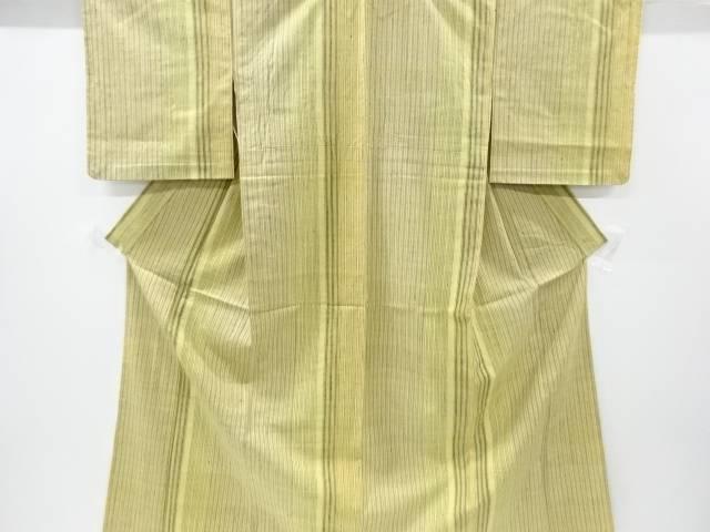 【IDnet】 縞織り出し手織り真綿紬単衣着物【リサイクル】【中古】【着】