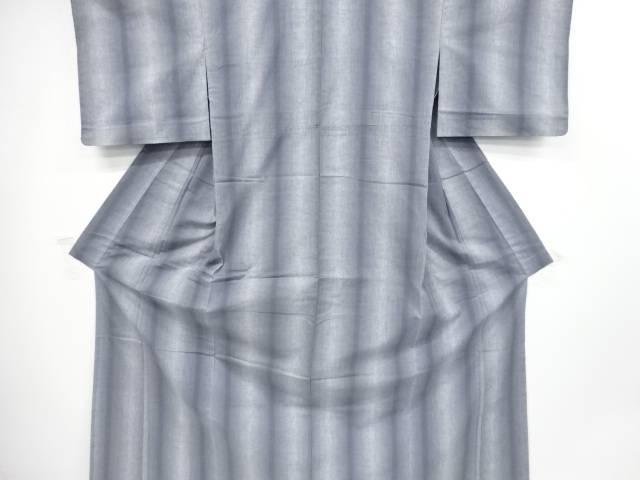 【IDnet】 縞模様手織り真綿紬単衣着物【リサイクル】【中古】【着】