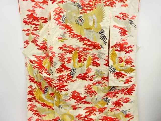 【IDnet】 群鶴に笠松模様刺繍花嫁衣装色打掛【アンティーク】【中古】【着】