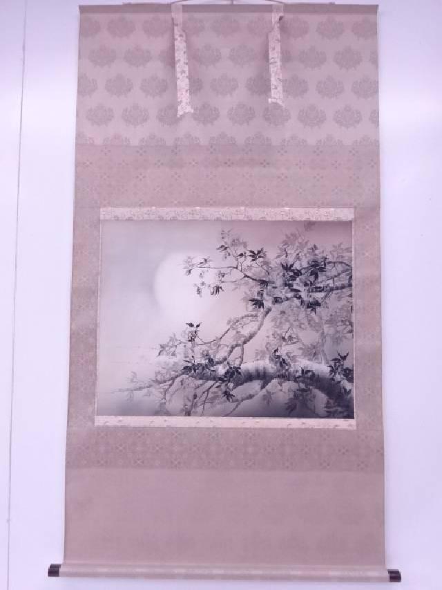 【IDnet】 日本画 契雪筆 夜桜図 肉筆絹本掛軸 (共箱)【中古】【道】