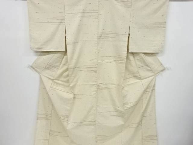 【IDnet】 変わり横段織出手織り節紬単衣着物【リサイクル】【中古】【着】