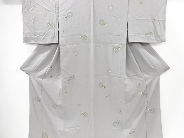 【IDnet】 桜に折鶴・玩具・糸巻き模様単衣小紋着物【リサイクル】【中古】【着】